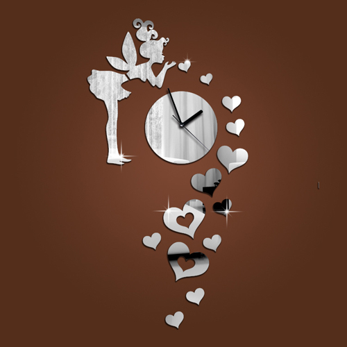 Wall Decoration Living Room Home Decorations The Angel Heart Clock Modern Design Novelty Items Unique Gift W32