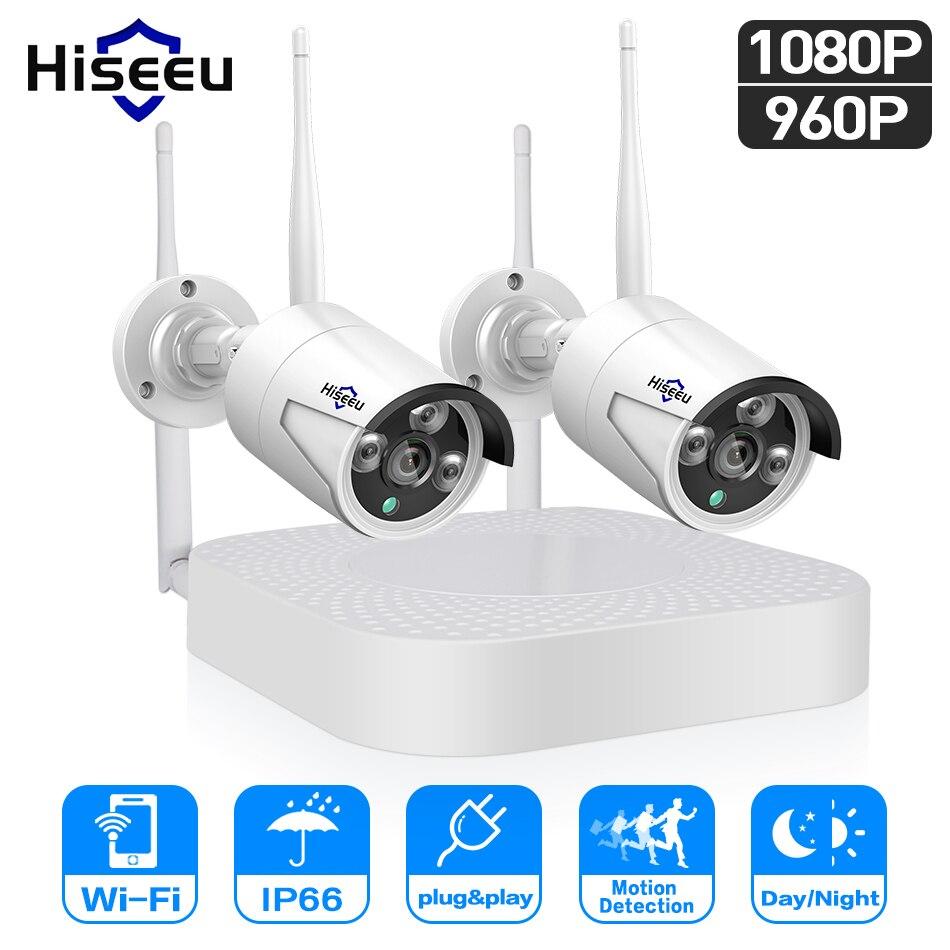 Hiseeu wifi système de caméra de sécurité à domicile wifi 4CH 1080 p CCTV NVR Kit 2 pcs 960 p/1080 p surveillance vidéo sans fil système de caméra IP