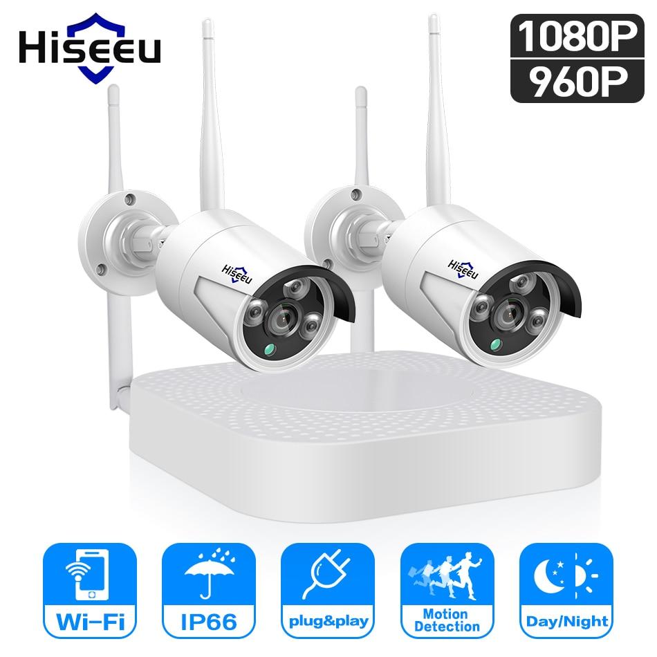 Hiseeu Wi-Fi видео наблюдение для дома камеры безопасности системы 4CH 1080P видеонаблюдение комплект NVR 2 шт. 960 P/1080 P беспроводного ip камера набор вид...