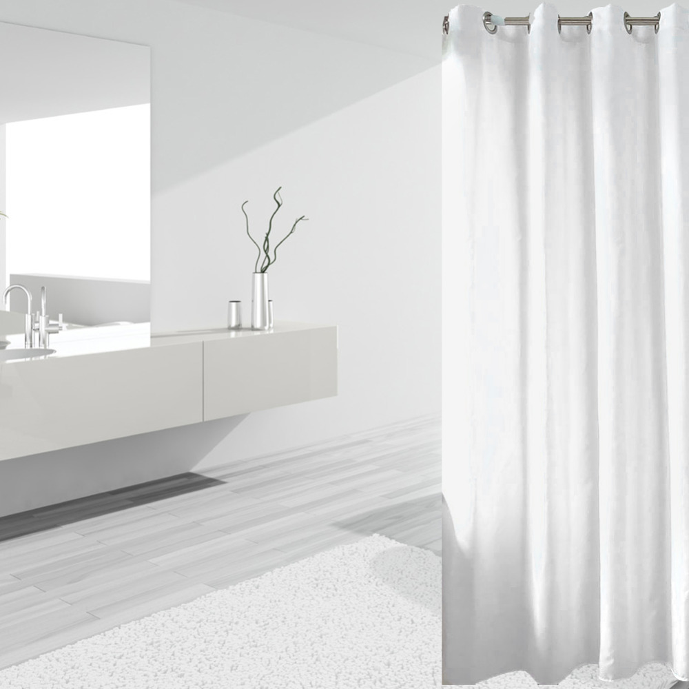 Long Shower Curtain 2019 180 180 Elegant Waterproof White Polyester Fabric Extra Long Shower Curtains Liners Super Thicken Plain White Mildew Resistant From Baibuju8
