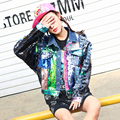 Traje femenino multicolor lentejuelas Ripped denim chaqueta de traje atractivo bar bailarín del cantante de moda estrella discoteca espectáculo de rendimiento