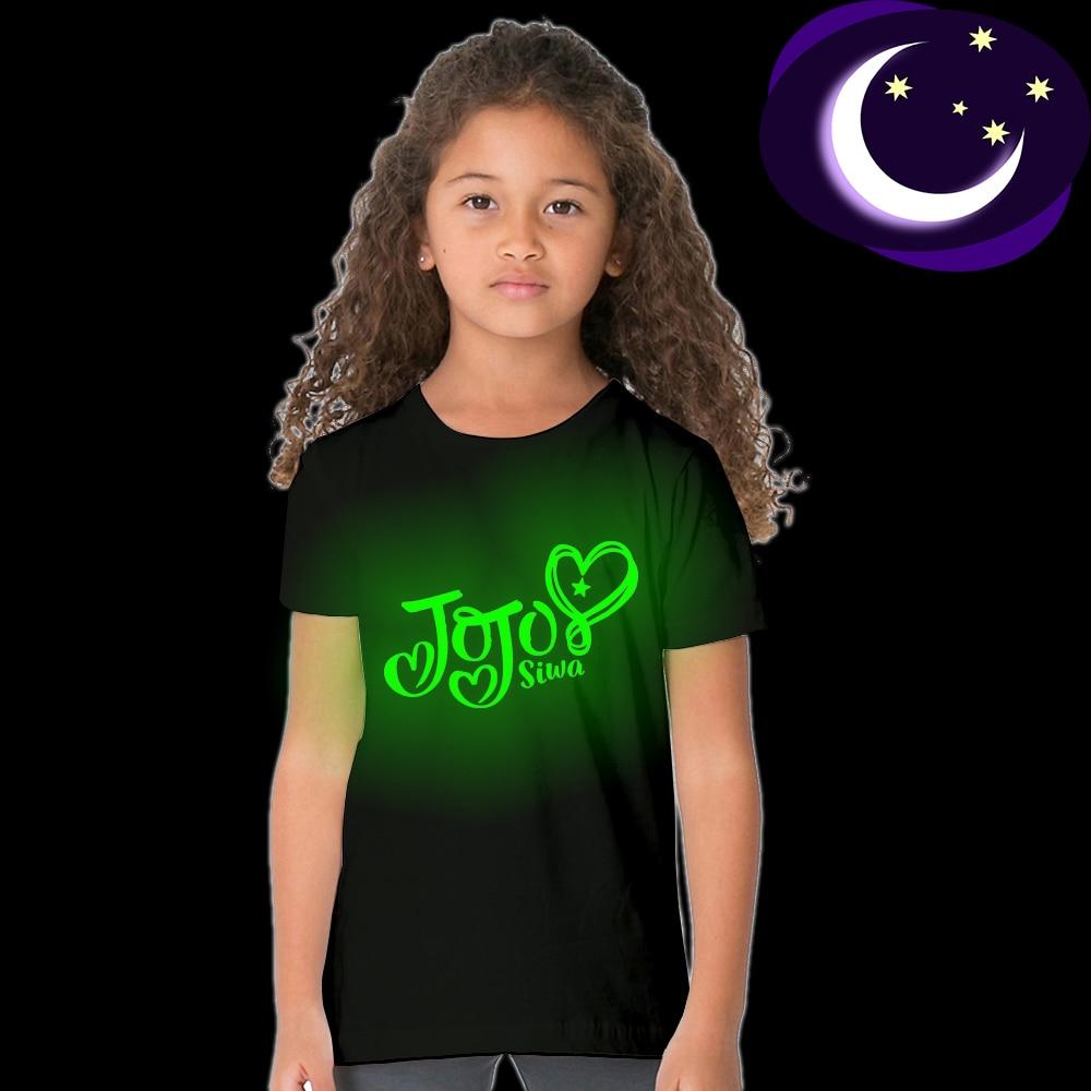 2018 New Fashion Jojo Siwa Luminous T Shirt for Kids Girl Summer Tops Jojo Siwa Toddler Children Clothes Teens T-shirt Casual