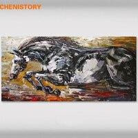 CHENISTORY Czarny Prowadzenie Konia Ręcznie Malowane Obraz Olejny Sztuka Nowoczesna Ściana Obraz Unikalny Prezent Płótno Do Dekoracji Wnętrz