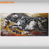 CHENISTORY Black Running Horse Handpainted Oil Painting Modern Wall Art Picture Unique Gift Canvas Painting For