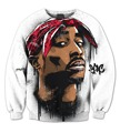 Real USA Size 3D Sublimation print Crewneck Sweatshirt Legendary 2Pac Hip hop Icon Tupac fleece men women streetwear plus size