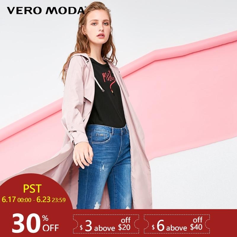 Vero Moda Women's Lapel Lace-up Medium Length Hooded   Trench   Coat |318321504