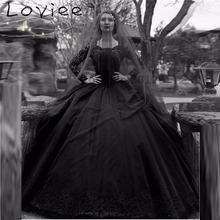 Black Gothic Wedding Dresses 2017 Lace Long Sleeves Bridal Gowns Tulle Ball Gowns Court Train vestido branco