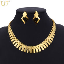U7 Dubai Big Gold Color Earrings Choker Necklace Set For Women Gift Geometry Fashion Ethiopian African Costume Jewelry Set S460(China)