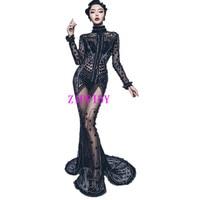 New Style Black Sparkly Rhinestones Sexy Long Dress Stage Wear Evening Singer Costume Nightclub Prom Birthday Celebrate Dresses