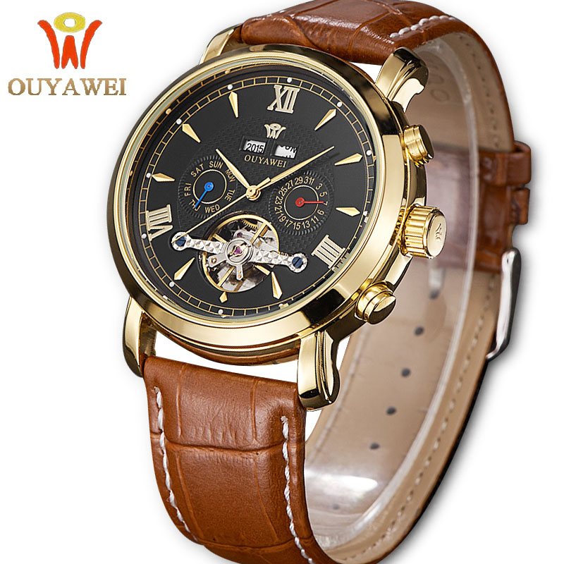 OUYAWEI Skeleton Automatic Watch Tourbillon Day Date Business Mechanical Watches for Men Waterproof Self-wind Leather Band Clock 2016 brand steel military fashion self wind relogios automatic watches mechanical tourbillon watch men tourbillon clock with box