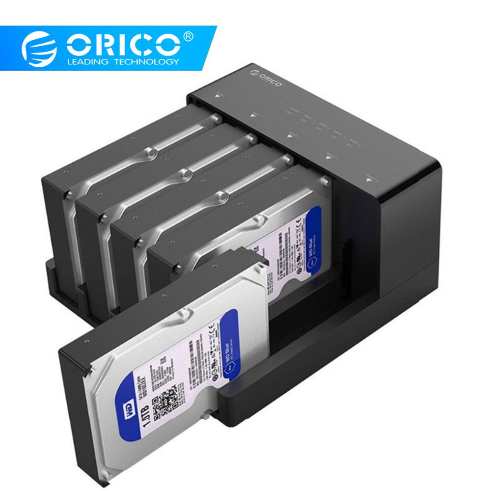 ORICO 5 Bay USB 3.0 HDD Docking Station Tool Free Usb 3.0 To Sata Hard Drive Case Adapter For 2.5 3.5 Inch HDD SSD Clone Box