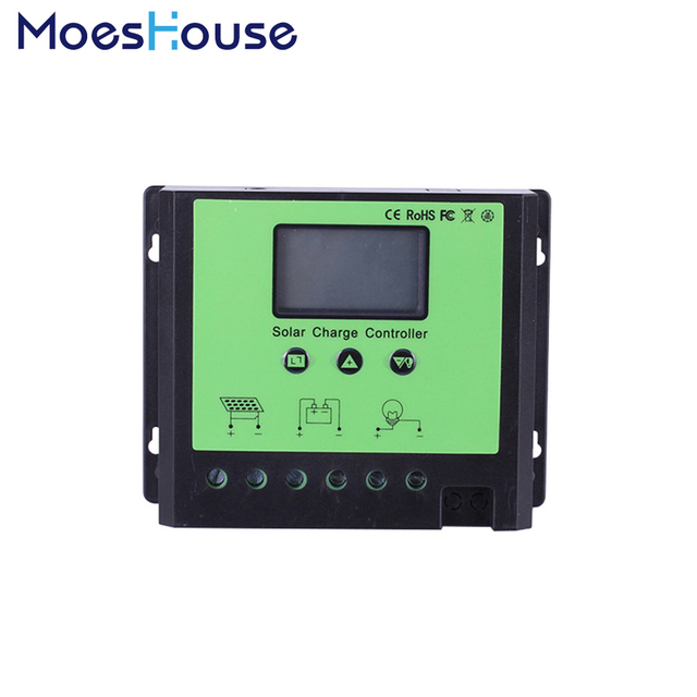 40A 50A 60A Intelligent PWM Solar Panel Regulator Charge Controller with LCD Display 12V 24V 48V Auto Detect