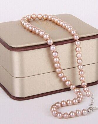 9-10mm naturel mers du sud rose collier de perles 18 pouces> joli bijoux de mariage pour femmes joli