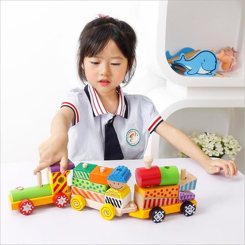 Kids Wooden Educational Montessori Train Shape Matching ...