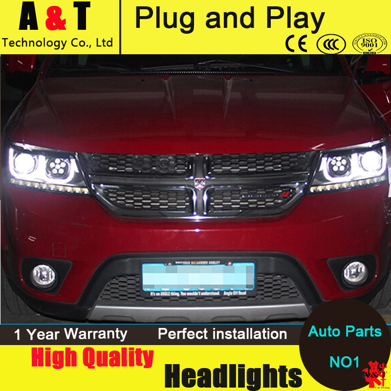 Car Styling FREEMONT LED Head Lamp for FIAT FREEMONT 2009-2014 LED Headlight assembly angel eye h7 with hid kit 2 pcs. new arrival canbus p6 car led head lamp conversion kit bulb 4500lm 2 9000lm led headlight super bright 45w 2 90w car styling