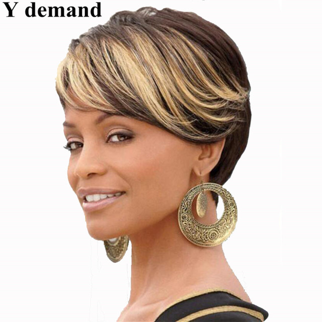 Ombre Short Wigs For Black Women Black Rooted Side Bangs Blonde Hair