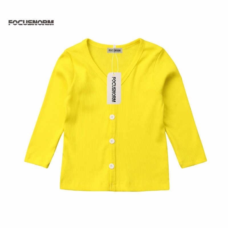 2018 nuevos abrigos de punto de algodón de Otoño de manga larga NIÑOS 2-6 T botones Tops moda Casual niñas niños chaqueta Outwear