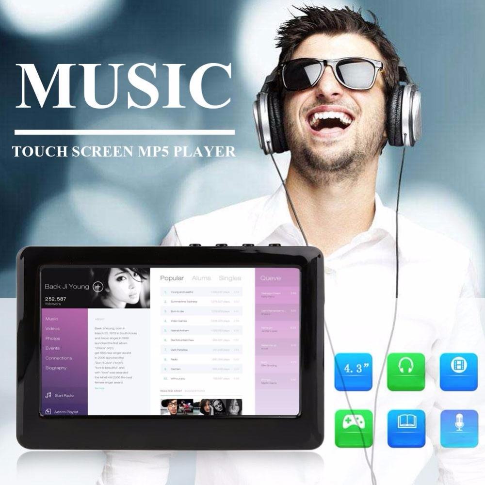 Cewaal 4.3 pouces Premium Portable EU prise HD écran tactile 8 GB MP3 MP4 MP5 lecteur numérique vidéo médias FM Radio enregistreur cadeau