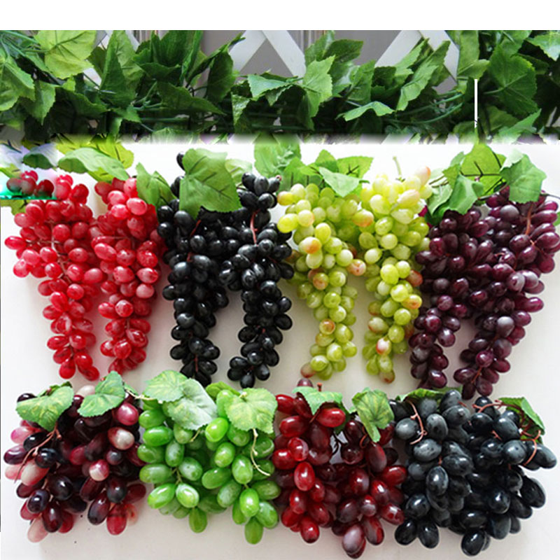 Artificial fruit 22pcs pvc grape grapes home fruit plate ...