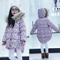 Casacos de Inverno 2017 Crianças Da Menina Floral de Algodão Parkas Encapuzados Casacos Longos para As Meninas Moda Outerwear Quente 3 4 6 8 10 12 anos