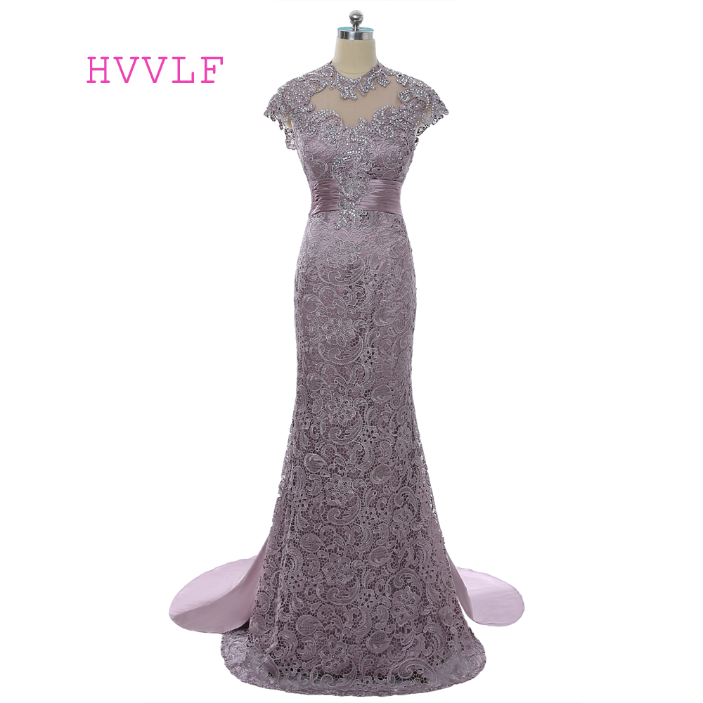 2019 Mother Of The Bride Dresses Mermaid High Collar Cap Sleeves Open Back Lace Purple Long Evening Dresses Mother Dresses