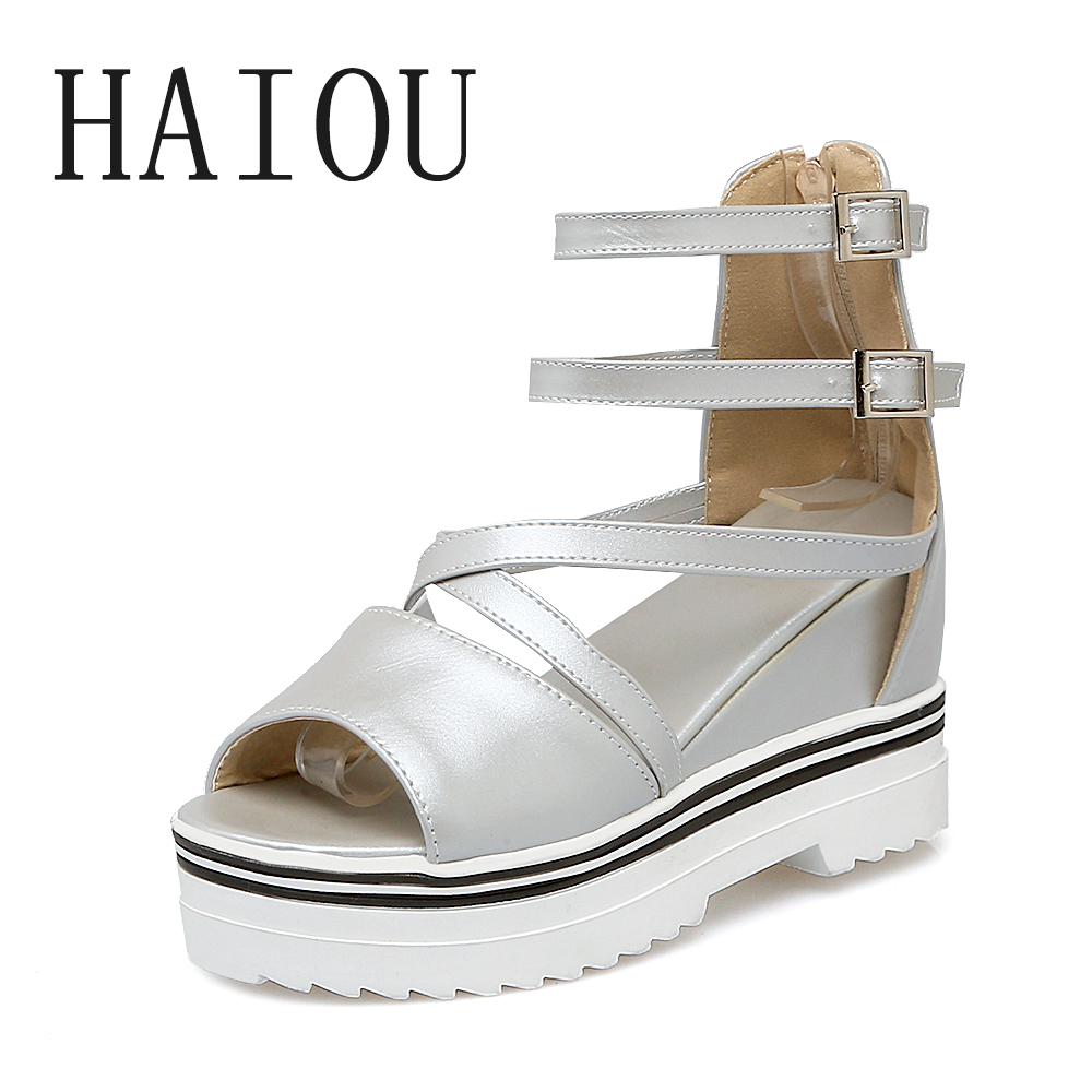 2017 Fashion Woman Wedges Platform Sandals High Quality Summer Shoes Women Casual Shoes Korean Muffin Fish Head Women Sandals phyanic 2017 gladiator sandals gold silver shoes woman summer platform wedges glitters creepers casual women shoes phy3323