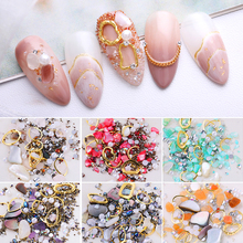 1Box 3D Nail Art Decoration Beads Rhinestones Ocean Theme Irregular Rivets Accessories
