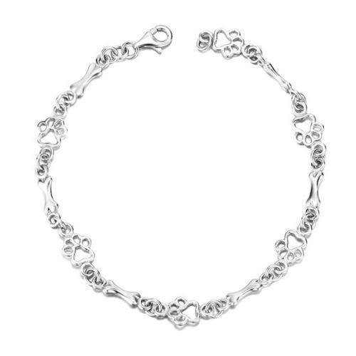 2017 Novo Tema Do Cão Osso de Prata Elo Da Cadeia Pulseira, pulseira de Impressão Da Pata Do Cão Charme Toggle Bracelet, Animal de Estimação Do Presente Do Amante Pulseiras