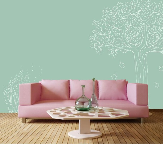 Mural Besar Segar Tree Biru Background Wallpaper Ruang Tamu Sofa Tv Dinding Anak