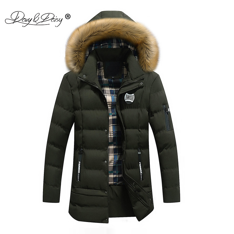 DAVYDAISY Men Winter Long Parkas Hat Detachable Coat Cotton Padded Thick Warm Jacket Male Brand Clothing Outerwear JK042