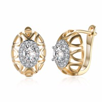 MEEKCAT New Elegant Ladies Jewelry Gold Color White Cubic Zircon Hoop Earrings For Romantic Wedding Gift