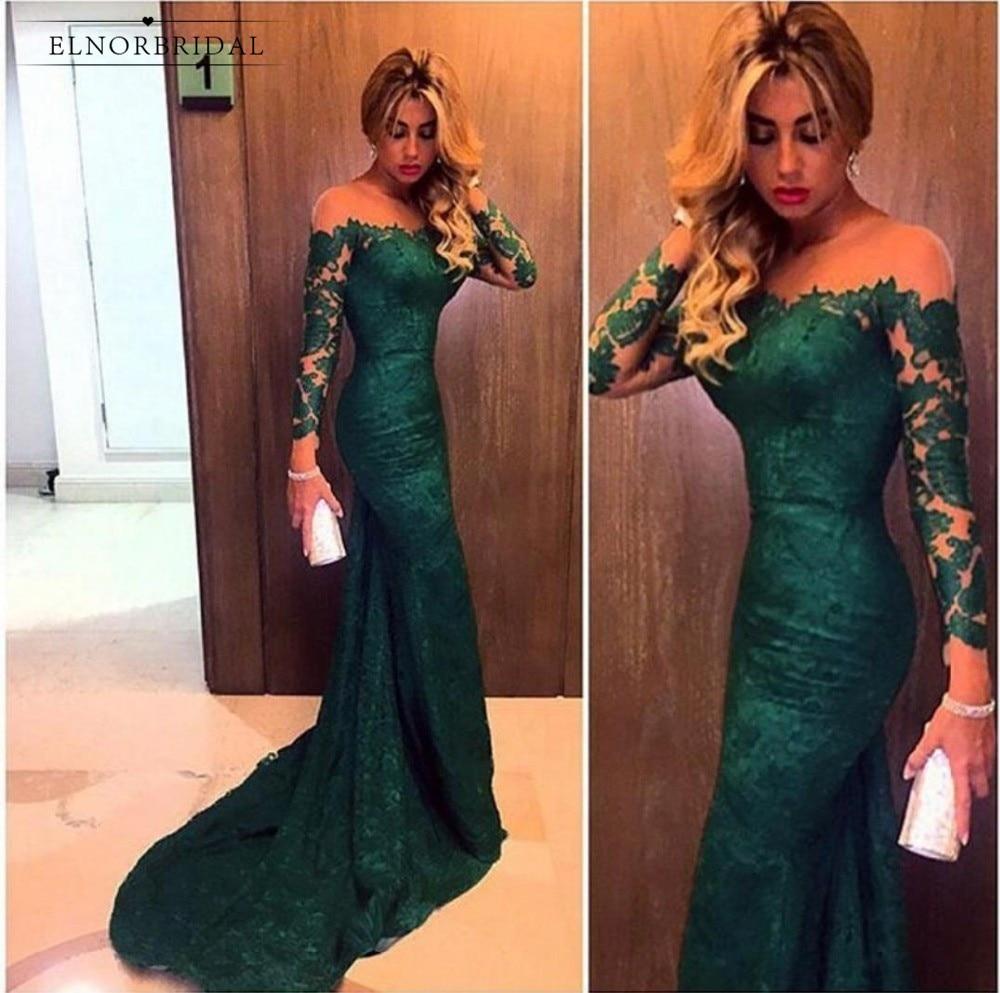 Vert émeraude sirène dentelle robes De soirée 2019 Robe De soirée modeste à manches longues formelle femmes Robe Abendkleider robes De soirée