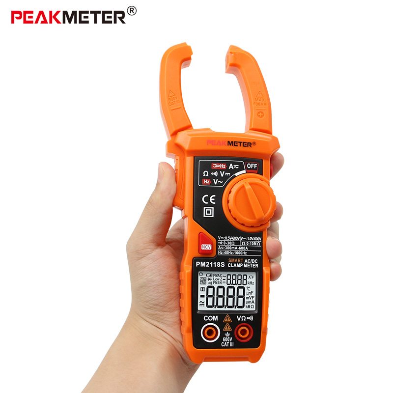 PEAKMETER PM2118S Portable Smart Digital clamp meter AC/DC Mulitmeter AC Current Voltage Resistance Continuity Tester with NVCPEAKMETER PM2118S Portable Smart Digital clamp meter AC/DC Mulitmeter AC Current Voltage Resistance Continuity Tester with NVC