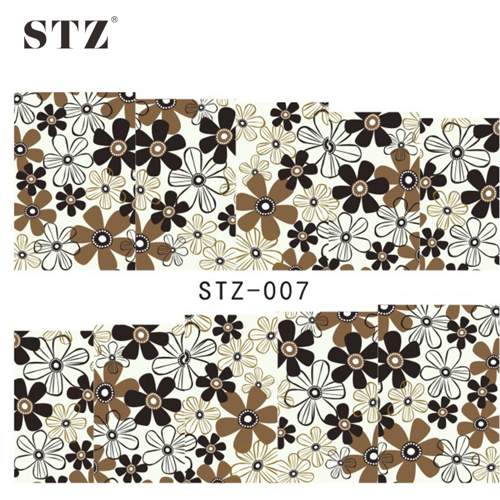 Stz 1sheets 2016 New Elegant Women Decoration Flower Nail Art Water Sticker Full Wraps Beauty Salon Express Nail Tools St 07