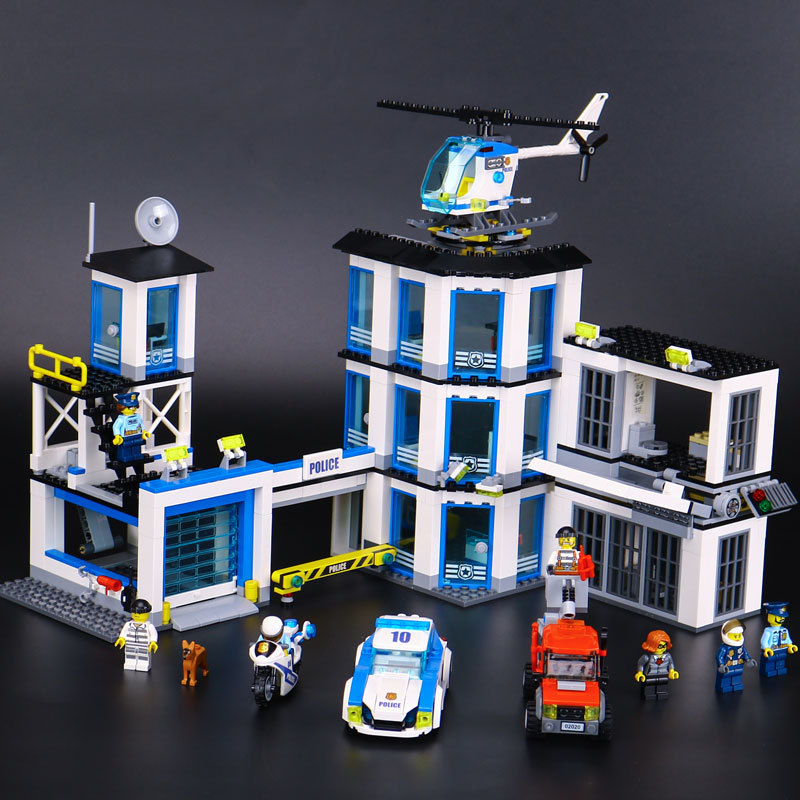 02020 965Pcs City Series The New Police Station Set children Educational Building Blocks Bricks Boy Toys Model Gift 60141 lepin 02006 815pcs city police series the prison island set building blocks bricks educational toys for children gift legoings
