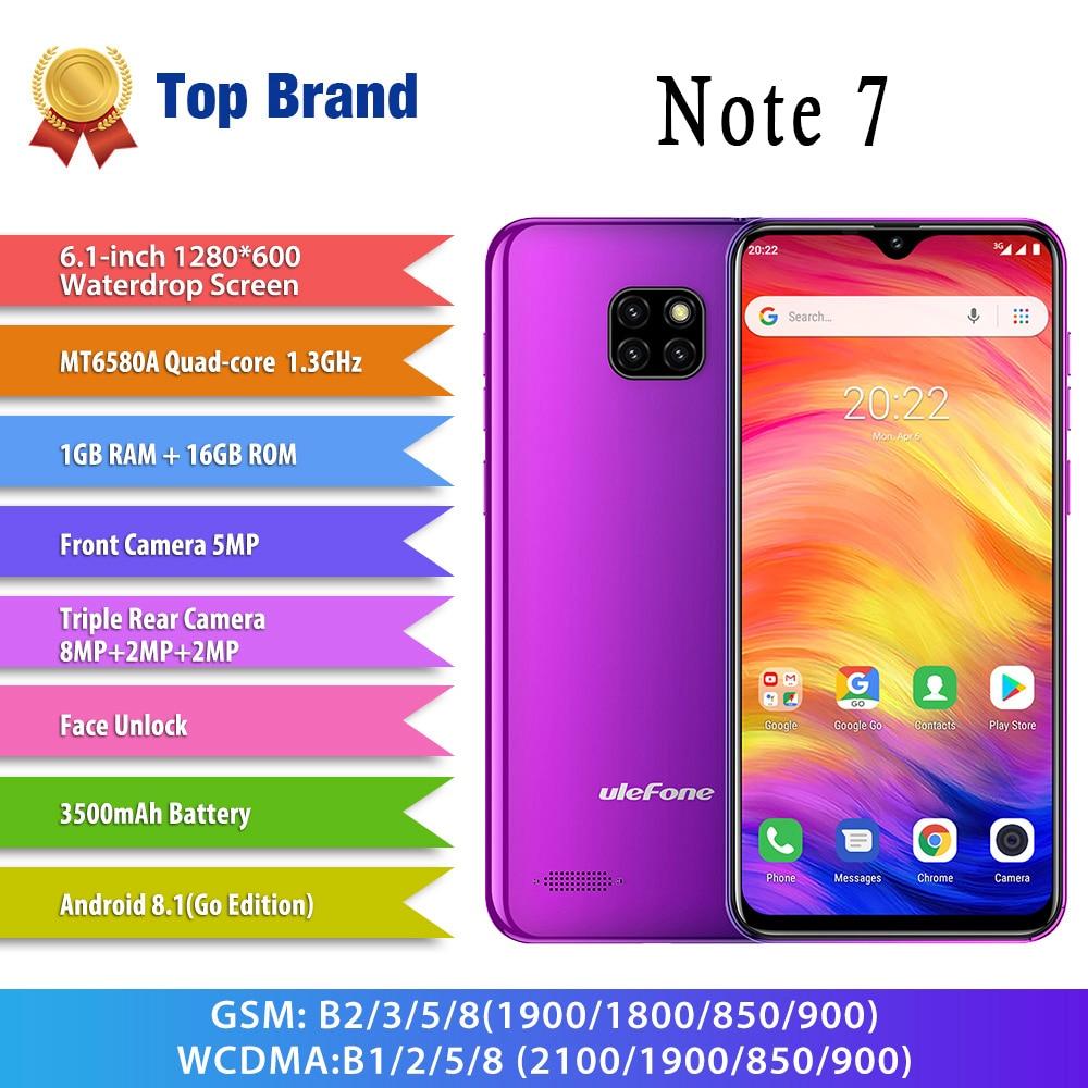 Ulefone Note 7 Smartphone 19:9 Quad Core 6.1 pouces 3500mAh écran de goutte d'eau 16GB ROM téléphone portable WCDMA téléphone portable Android8.1