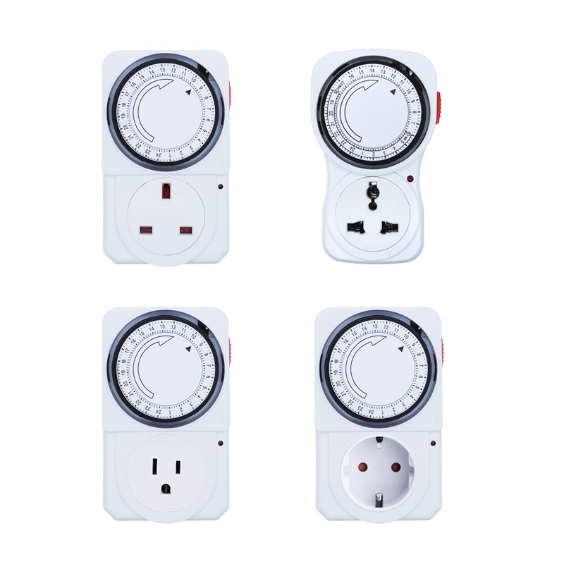 24 Hour Cyclic Timer Switch Kitchen Timer Outlet Loop Universal Timing Socket Mechanical Timer 230VAC 3500W 16A UK EU CN US Plug|Timers| |  -