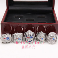 5pcs Set 2001 2003 2004 2014 2016 New England Patriots Super Bowl Championship Rings Set Drop