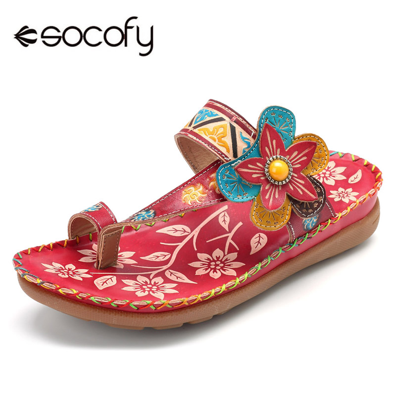 Socofy Bohemian Slippers Women Shoes Genuine Leather Shoes Woman Slides Vintage Flower Flip Flops Outdoor Summer Beach SlippersSocofy Bohemian Slippers Women Shoes Genuine Leather Shoes Woman Slides Vintage Flower Flip Flops Outdoor Summer Beach Slippers