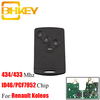 BHKEY 4B PCF7952 Chip Smart Remote Key Keyless Fob For Renault Koleos 434Mhz for Renault Scenic Laguna Koleos Clio Uncut Blade