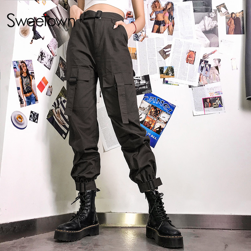 Sweetown Brown Cotton Pockets Cargo Pants Women Street Style High Waist Harajuku Pants Ladies Trousers Summer Autumn New Arrival