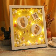 3D Baby Souvenir Set Handprint Footprint Soft Clay Photo Frame Newborn Exquisite Decorations Ornament Print Keepsake Baby Care(China)