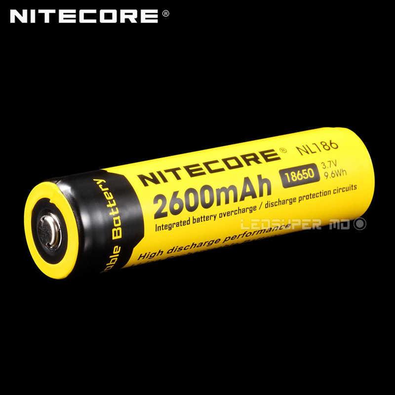 Высокая производительность разряда Nitecore NL186 2600 мАч 3,7 в литий-ионный 18650 Аккумулятор Перезаряжаемый с более чем 500 циклов