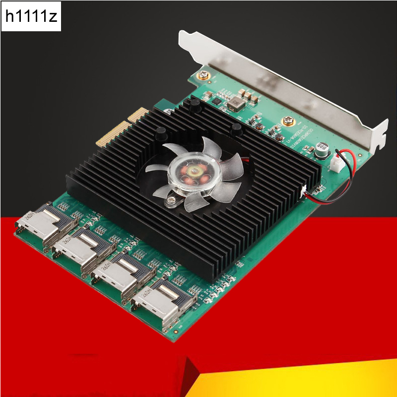 H1111Z 16 Ports SATA 6G PCI Express Controller Card Marvell 88SE9215 Chipset PCIe to SATA III 3.0 with MINI SAS to 4 SATA Cable