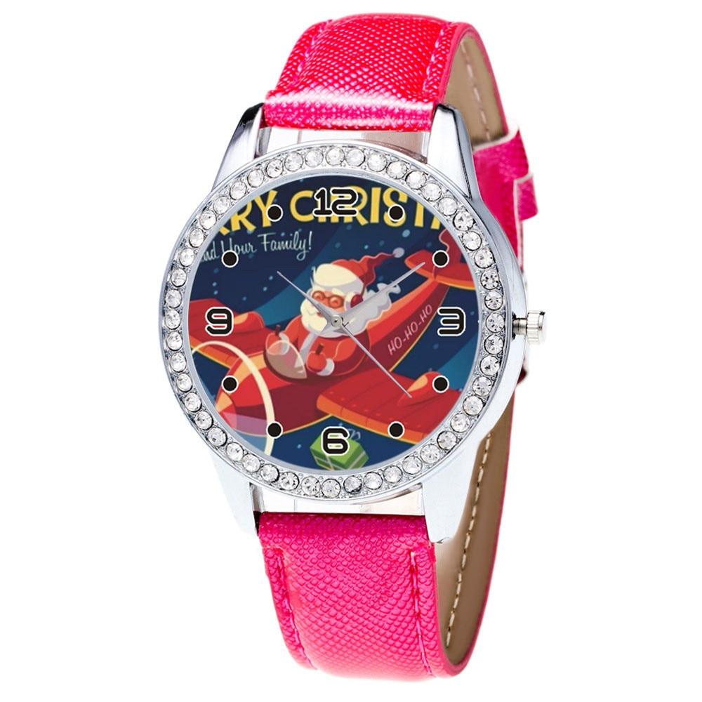 Women Watch Christmas Diamond Leather Band Analog Quartz Vogue Wrist Watches Gif women watches relogio feminino montre femme