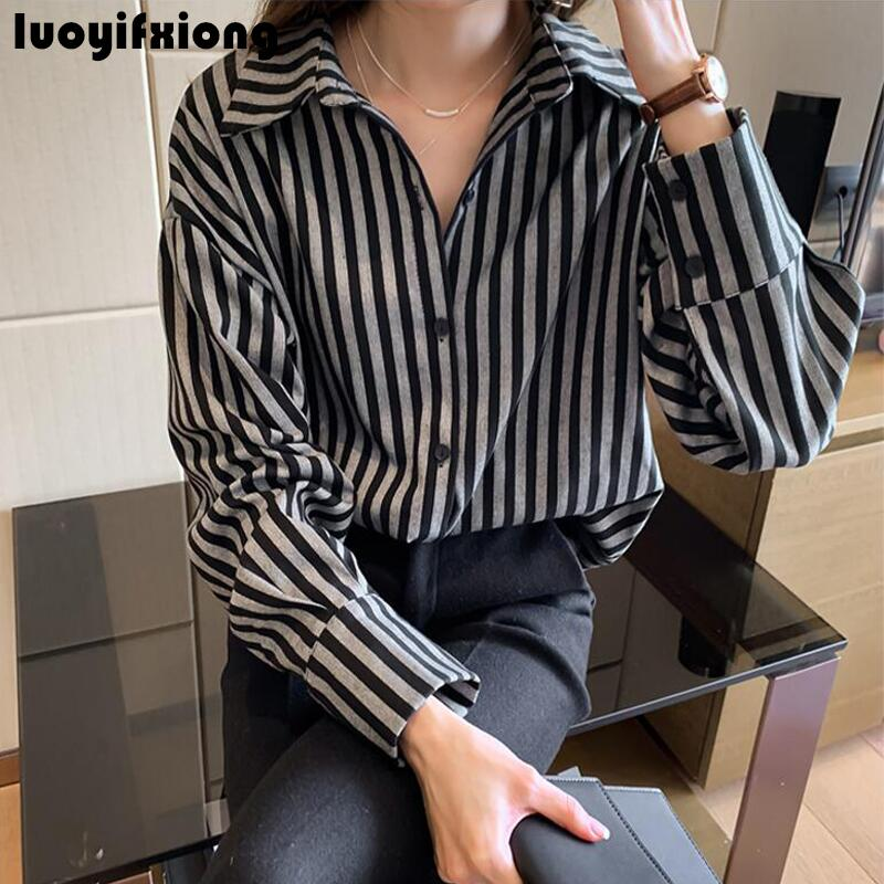 Kimono Cardigan Long Sleeve Vintage Striped Blouse Shirt 2019 New Work Womens Tops and Blouses Loose Casual Plus Size Blusas 1