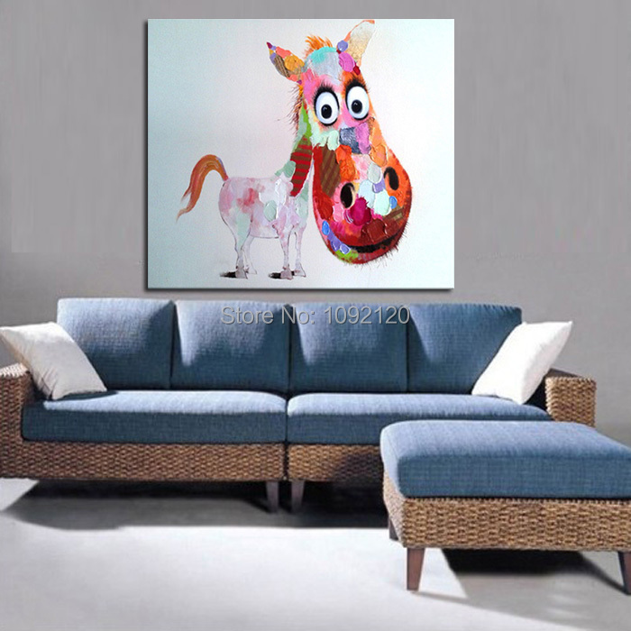 Decorative Art Handmade Oil Painting On Canvas Living Room Home Decor Big  Head Horse Wall Paintings Animal Pictures Part 95