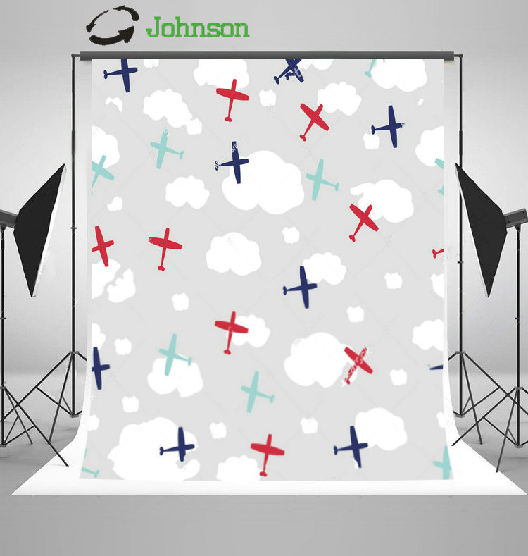 Colorful Planes White Clouds Gary Background polyester or Vinyl cloth High quality Computer print children kids backdrop