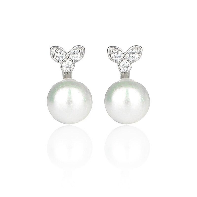 Temperament 925 Sterling Silver Earrings 4mm Pearl Stud Earring for Women Jewelry Brincos Para