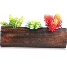 High Temprature Burn Wood Succulent Pots Planters Rectangular with Three Holes Decorative Windowsill Plant Container Pastoral